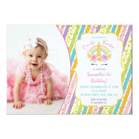Rainbow Unicorn Photo Birthday Invitations