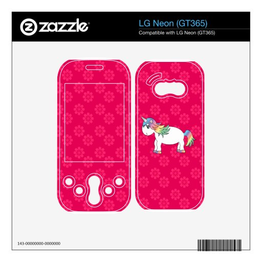Rainbow unicorn pink flowers decal for the LG neon