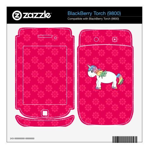 Rainbow unicorn pink flowers BlackBerry torch decals