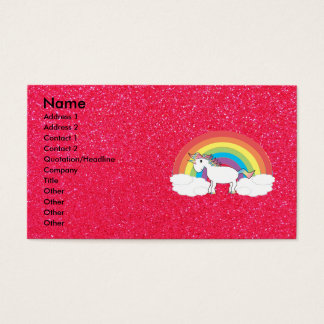 Rainbow unicorn pink glitter business card
