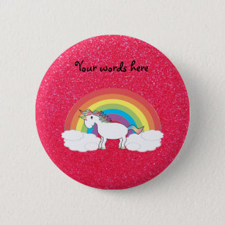 Rainbow unicorn pink glitter button