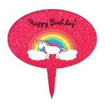 Rainbow unicorn pink glitter cake picks