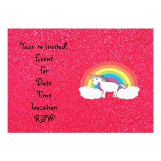 Rainbow unicorn pink glitter custom announcement