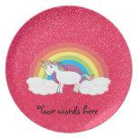 Rainbow unicorn pink glitter dinner plate