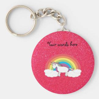 Rainbow unicorn pink glitter key chain