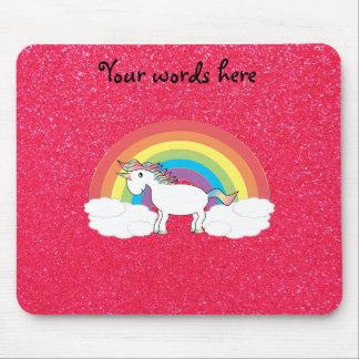 Rainbow unicorn pink glitter mouse pad