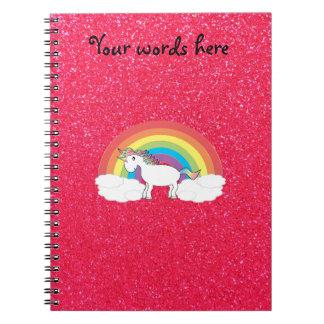 Rainbow unicorn pink glitter notebook