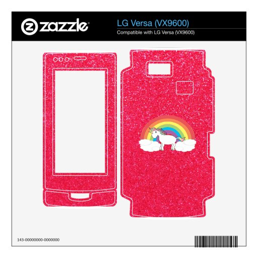 Rainbow unicorn pink glitter decal for the LG versa
