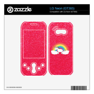Rainbow unicorn pink glitter decal for LG neon