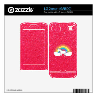 Rainbow unicorn pink glitter decals for LG xenon