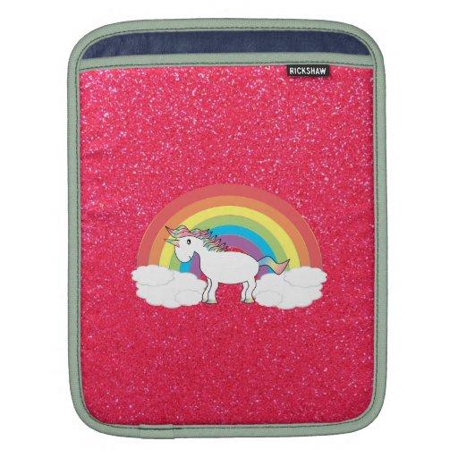 Rainbow unicorn pink glitter sleeves for iPads