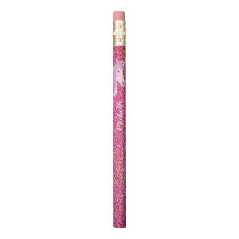 Rainbow Unicorn Pink Glitter Sparkles Personalized Pencil