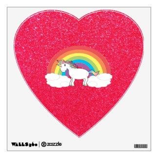 Rainbow unicorn pink glitter wall graphics