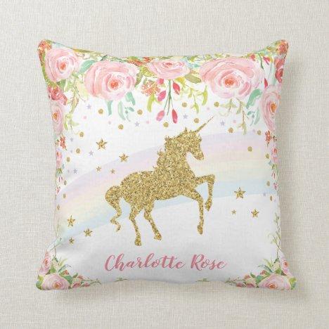 Rainbow Unicorn Pink Gold Baby Girl Nursery Decor Throw Pillow