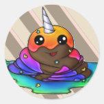 Rainbow Unicorn Poop Classic Round Sticker