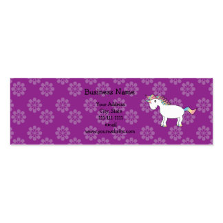Rainbow unicorn purple flowers Double-Sided mini business cards (Pack of 20)