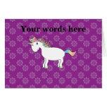 Rainbow unicorn purple flowers card