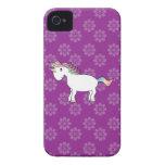 Rainbow unicorn purple flowers iPhone 4 Case-Mate cases