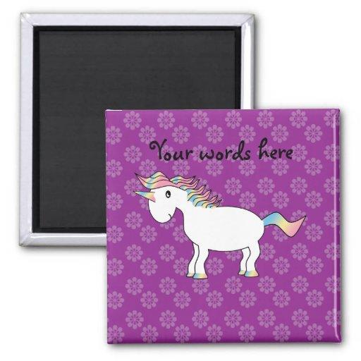 Rainbow unicorn purple flowers pattern refrigerator magnet
