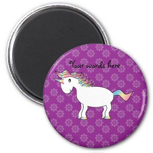 Rainbow unicorn purple flowers pattern magnets