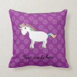 Rainbow unicorn purple flowers pillow