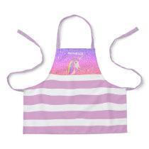 Rainbow Unicorn Purple Glitter Girls Personalized Apron