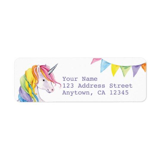 rainbow unicorn return address labels zazzle com