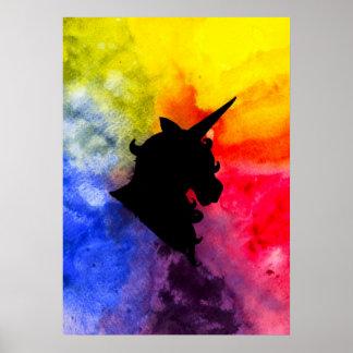 Rainbow Unicorn Silhouette Print