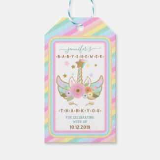Rainbow Unicorn Stars Baby Shower Party Gift Tags