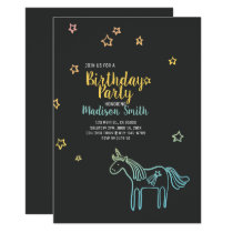 Rainbow Unicorn Stars Birthday Party Invitation