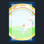 """Rainbow Unicorn Stationery<br><div class=""""desc"""">This whimsical unicorn stationary is fully customizable--use the template to add your own title and monogram,  or use Customize it to modify the design!</div>"""