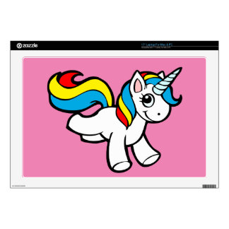 "Rainbow unicorn toon decal for 17"" laptop"
