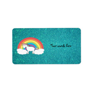 Rainbow unicorn turquoise glitter address label