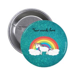 Rainbow unicorn turquoise glitter pinback button
