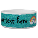 Rainbow unicorn turquoise glitter dog bowl