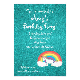 Rainbow unicorn turquoise glitter invitation