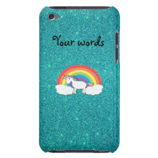 Rainbow unicorn turquoise glitter iPod touch Case-Mate case