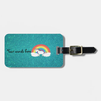 Rainbow unicorn turquoise glitter tags for luggage