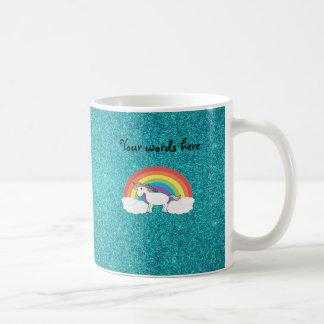 Rainbow unicorn turquoise glitter classic white coffee mug