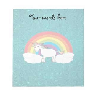 Rainbow unicorn turquoise glitter memo pad