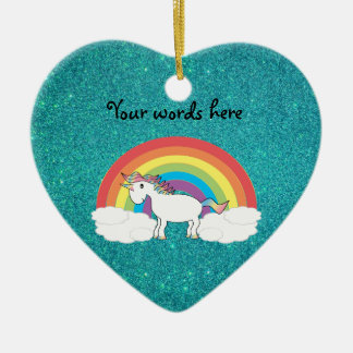 Rainbow unicorn turquoise glitter christmas tree ornament