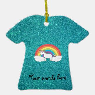 Rainbow unicorn turquoise glitter ornament