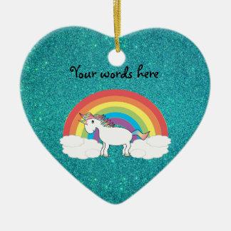 Rainbow unicorn turquoise glitter christmas ornament