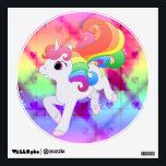 "Rainbow Unicorn Wall Decal<br><div class=""desc"">A cute,  vector-drawn unicorn with rainbow mane and tail</div>"