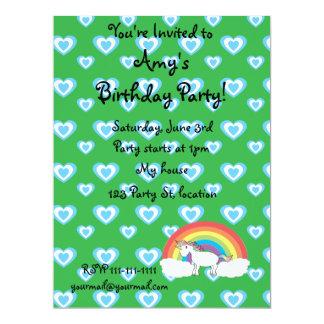 Rainbow unicorn with blue hearts green card