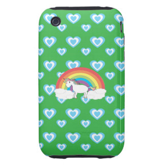 Rainbow unicorn with blue hearts green tough iPhone 3 cover