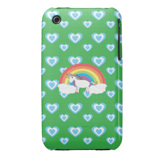 Rainbow unicorn with blue hearts green iPhone 3 cover