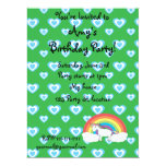 Rainbow unicorn with blue hearts green 6.5x8.75 paper invitation card