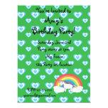 Rainbow unicorn with blue hearts green custom invite