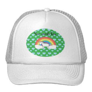 Rainbow unicorn with blue hearts on green mesh hats